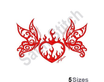 heart with flames etsy Rockabilly Backgrounds butterfly flames heart machine embroidery design embroidery patterns embroidery files instant download