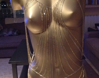 Gold and silver coloured top.