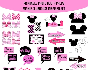 Instant Download Minnie Mouse Clubhouse Inspired Printable Photo Booth Prop Set