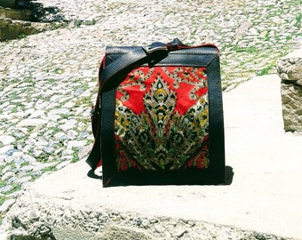 leather bag and silk Fire