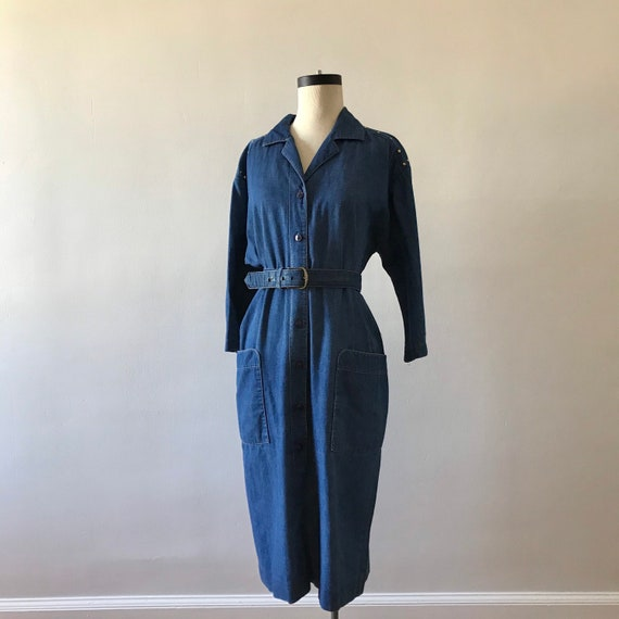 Studded denim belted shirtwaist midi dress