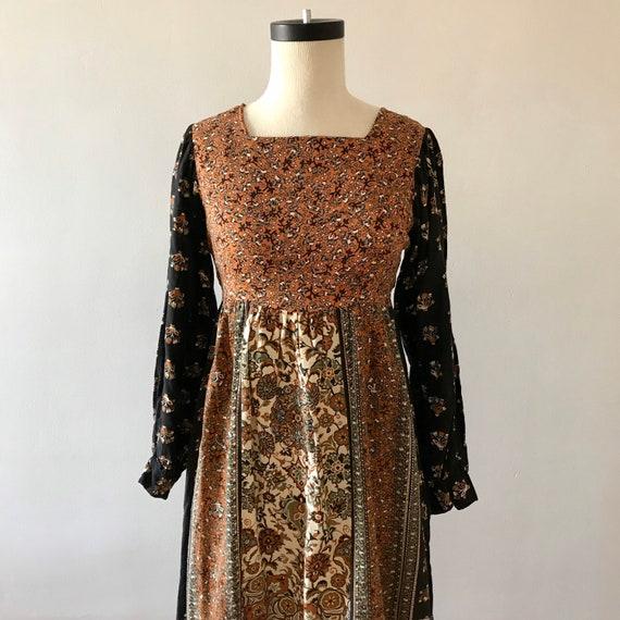 Block print cotton boho folk dress