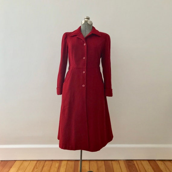 Red wool princess maxi coat - image 3