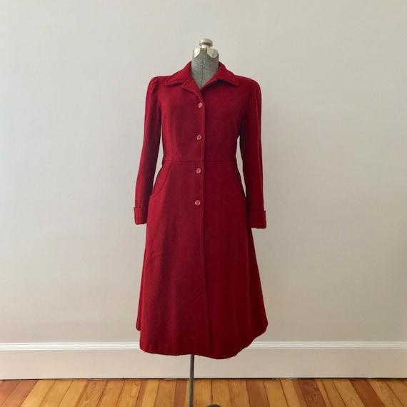 Cranberry wool princess maxi coat - image 5