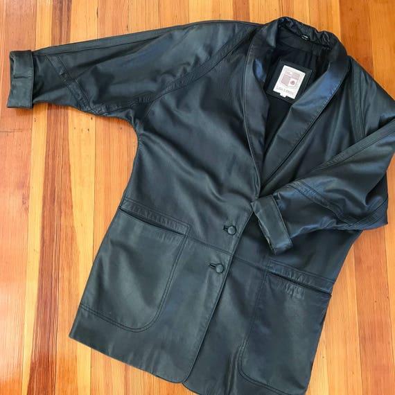 Dolman sleeve oversized leather jacket - image 8