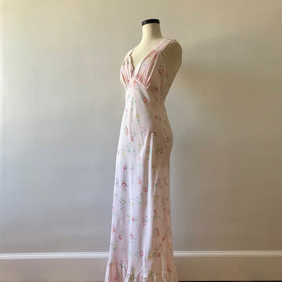 30s floral rayon maxi dress - image 4