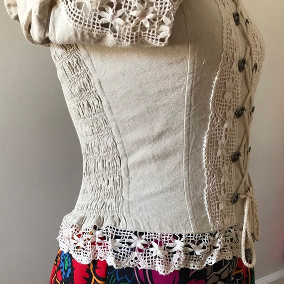 Linen and lace dirndl corset style folk top - image 7