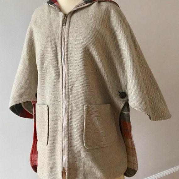 Tweed and plaid wool hooded cloak - image 7