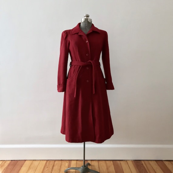 Red wool princess maxi coat - image 2