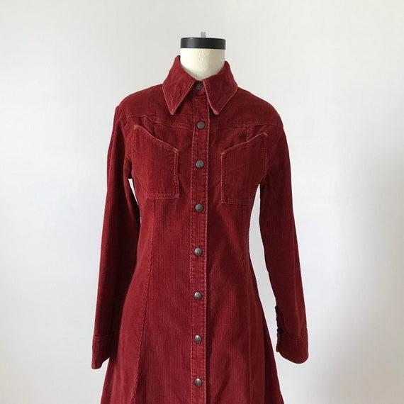 Landlubber rust red corduroy shirt dress - image 4