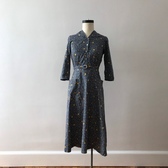 40s floral cotton shirtwaist midi dress