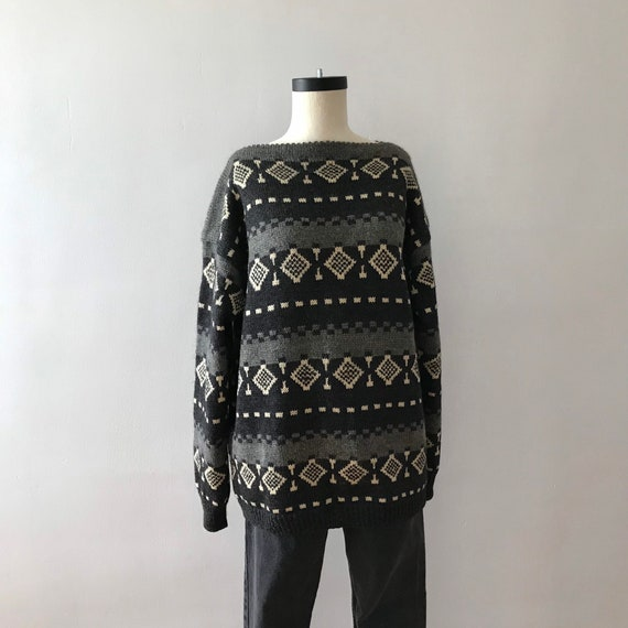 60s Hand knit scandinavian wool boatneck sweater