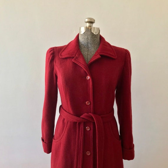 Cranberry wool princess maxi coat - image 6