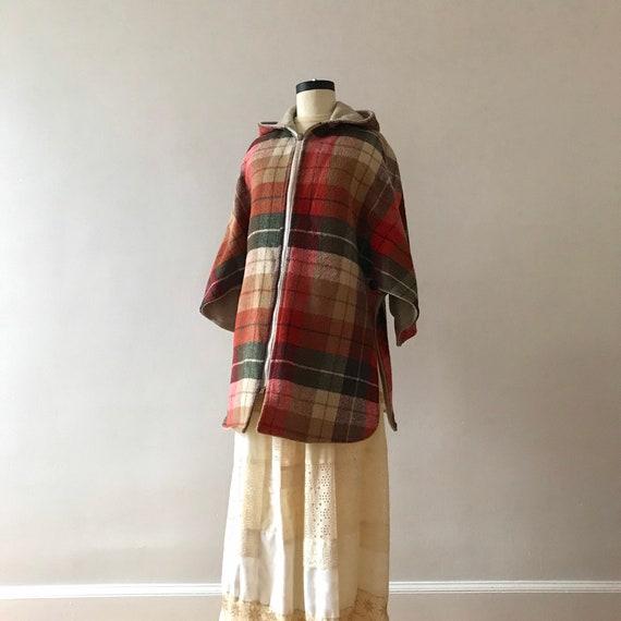 Tweed and plaid wool hooded cloak - image 3