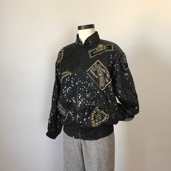 Lillie Rubin silk sequin champagne bomber jacket