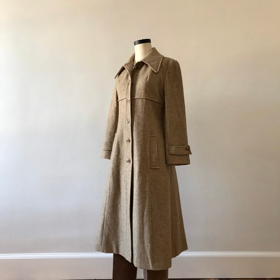Tweed wool maxi princess coat