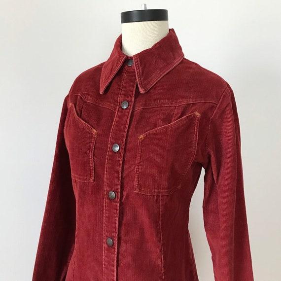 Landlubber rust red corduroy shirt dress - image 3
