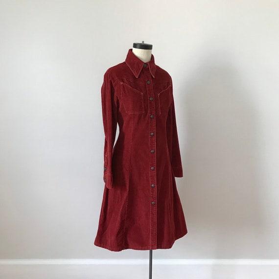 Landlubber rust red corduroy shirt dress - image 6