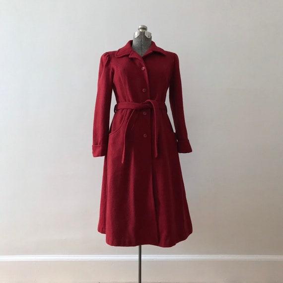 Cranberry wool princess maxi coat - image 3
