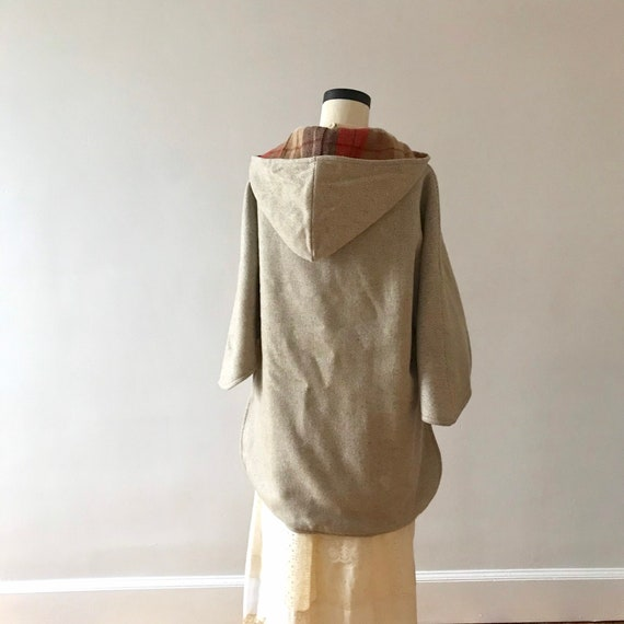 Tweed and plaid wool hooded cloak - image 6