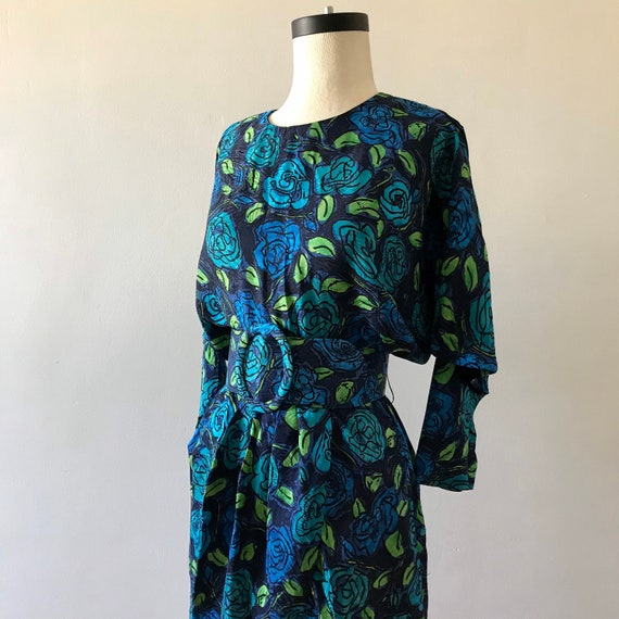 Gillian silk floral print dolman sleeve dress