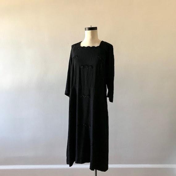 30s black rayon beaded sheath dress with soutache