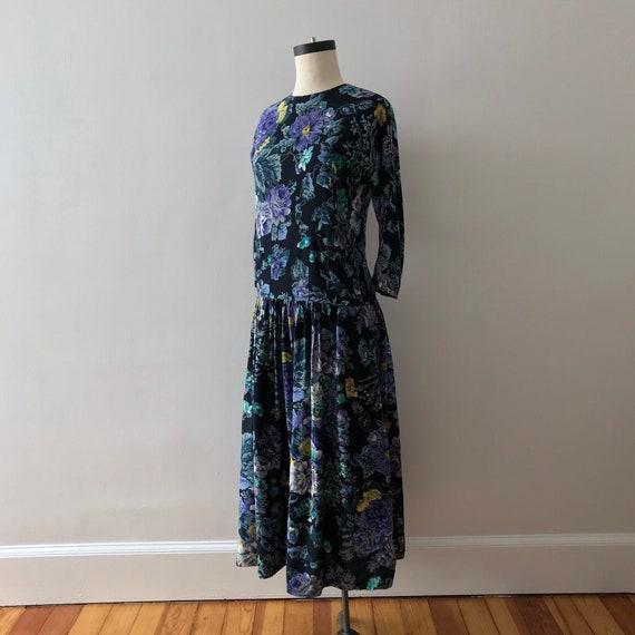 India floral drop waist maxi dress