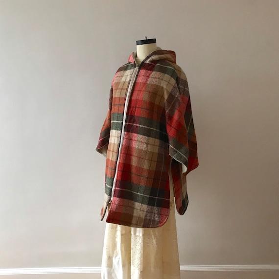 Tweed and plaid wool hooded cloak - image 2
