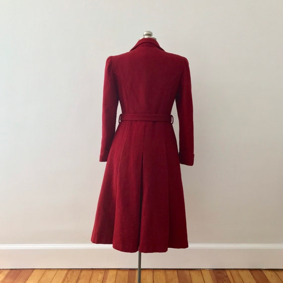 Red wool princess maxi coat - image 8