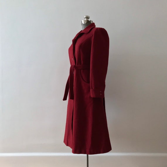 Red wool princess maxi coat - image 4