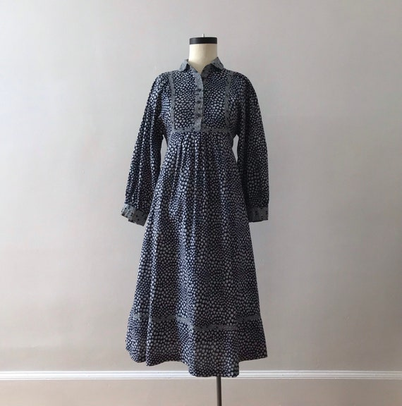 70s cotton block print dress // Boho empire waist