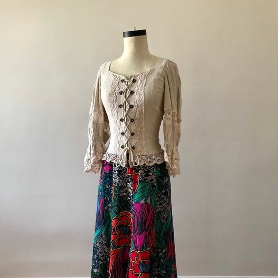 Linen and lace dirndl corset style folk top - image 2
