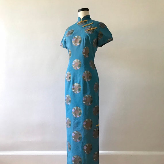 Alfred Shaheen chinoiserie high collar maxi dress