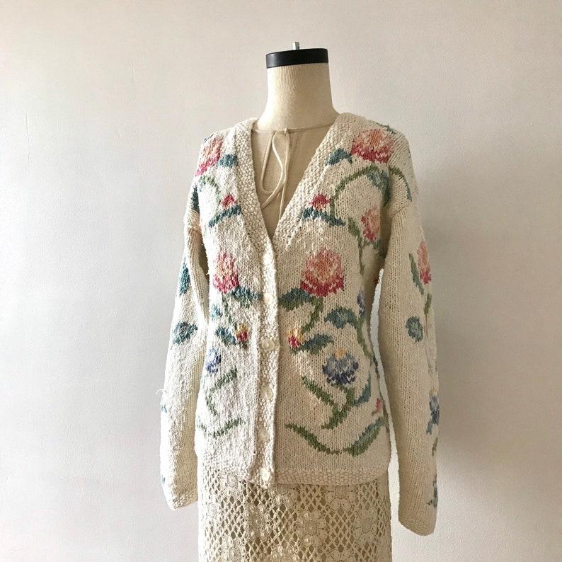 Oversized floral cotton linen cardigan    Cozy spring garden  fdb675278