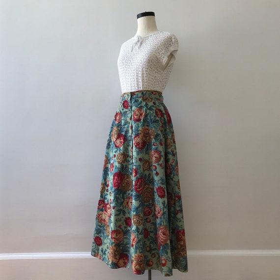 Lizsport cotton floral button front maxi skirt