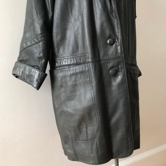 Dolman sleeve oversized leather jacket - image 6