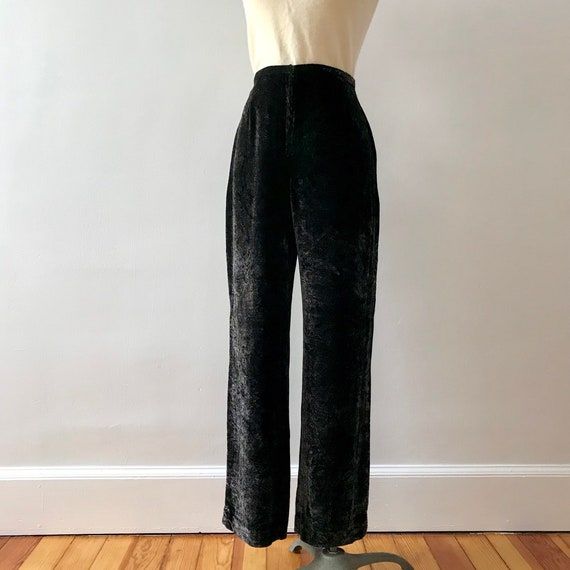 Rayon and silk velvet paisley print trousers