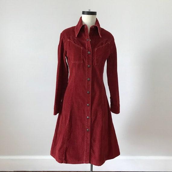 Landlubber rust red corduroy shirt dress - image 2