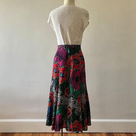Dark floral print rayon tulip skirt - image 7