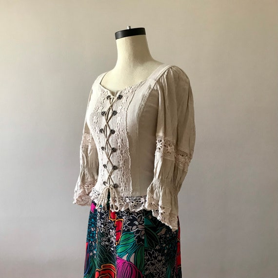 Linen and lace dirndl corset style folk top - image 4