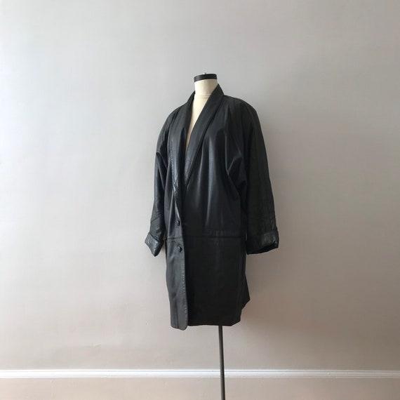 Dolman sleeve oversized leather jacket - image 3