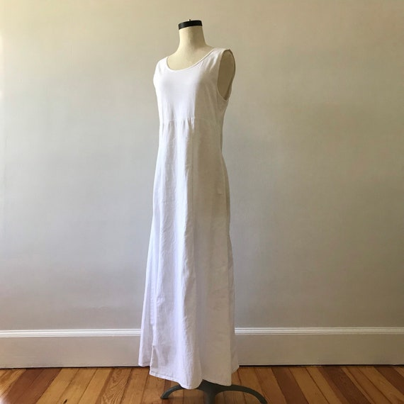 Minimalist white cotton maxi dress