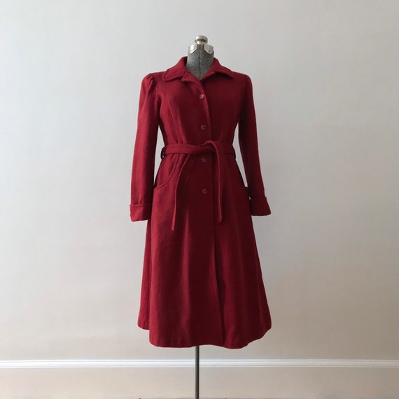 Red wool princess maxi coat
