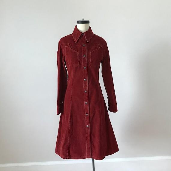 Landlubber rust red corduroy shirt dress
