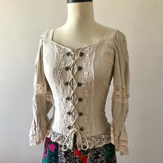 Linen and lace dirndl corset style folk top - image 3