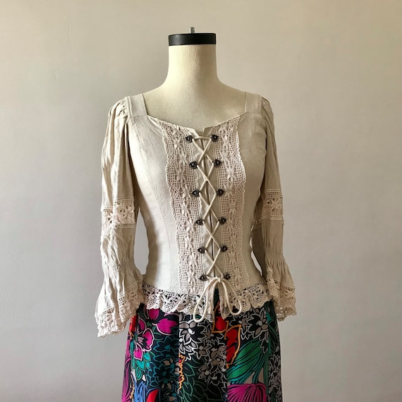 Linen and lace dirndl corset style folk top - image 1