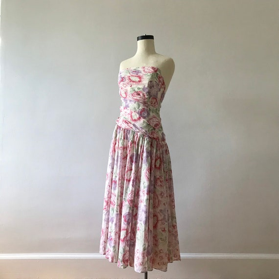 Laura Ashley floral strapless midi dress