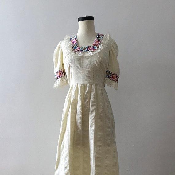 Empire waist embroidered folk maxi dress