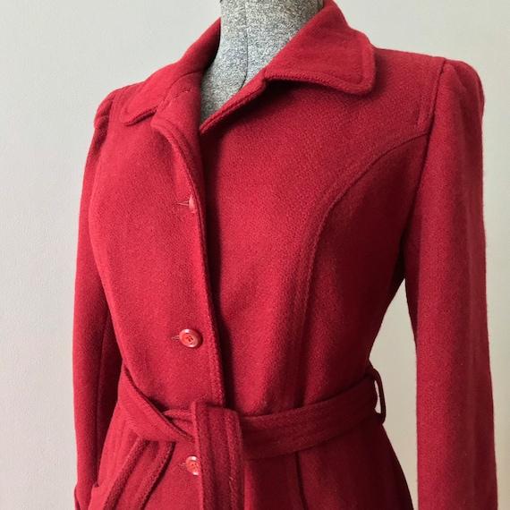 Cranberry wool princess maxi coat - image 7
