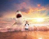 Shark in Ocean - Shark Jumping out of Ocean- Digital Background Backdrop